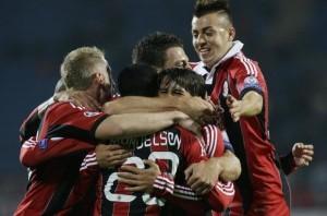 Milan esultanza contro Barcellona